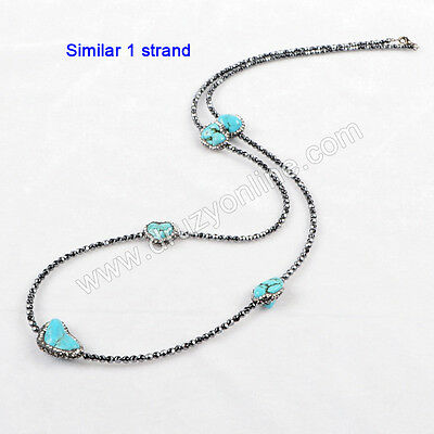 1 Strand Five Blue Howlite Turquoise Faceted Beads Necklace & Paved CZ TJ170