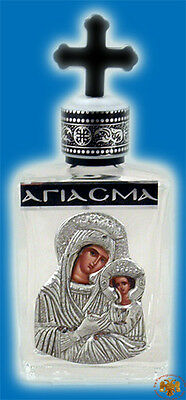 Orthodox Holy Oil & Water Glass Bottle With Holy Christian Metal Icon No.7830-30