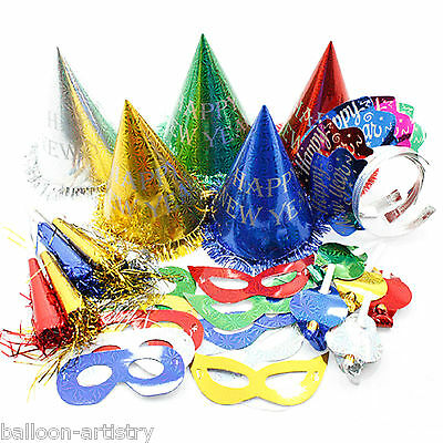 30 Piece Multi Colour Super Value Happy New Year Party Supplies Kit 10 Guests