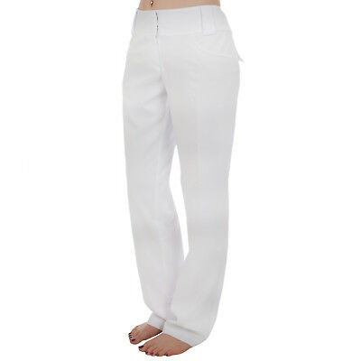adidas Golf Womens Ladies Climalite 3 Stripe Flat Front Pants Trousers White - 8
