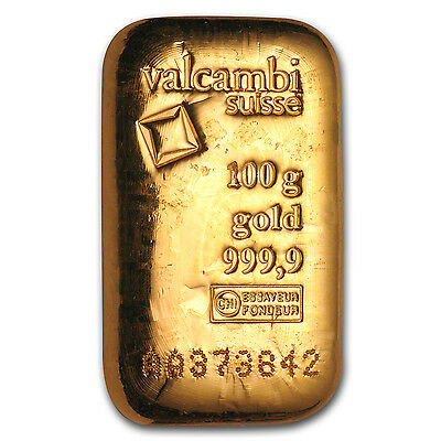 100 gram Gold Bar - Valcambi (Poured w/Assay) - SKU #83922
