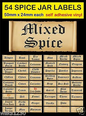 54 Old English scrolls HERB & SPICE JAR LABELS adhesive vinyl Storage Stickers