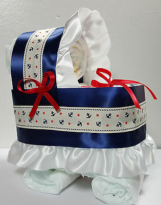 Diaper Cake Bassinet Carriage Baby Shower Gift - Navy Nautical Theme Blue/White