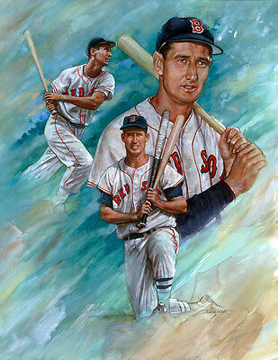 """Clock Is Ticking SALE! TED WILLIAMS Lithograph - BOSTON RED SOX """"Free Shipping"""""""