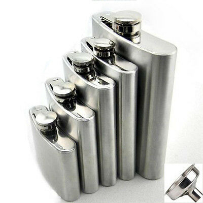 1PC Stainless Steel Hip Liquor Whiskey Alcohol Flask Cap 4 6 8 10 oz + Funnel