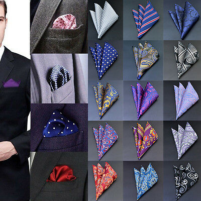 Mens Pocket Square Hankerchief Satin Solid Floral Paisley Dot Floral Hanky Party