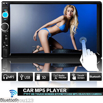 """7"""" HD Double DIN Car In Dash Touch Screen Stereo MP3 FM MP5 USB AUX Radio Player"""