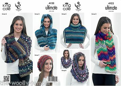 4122 - King Cole Ultimate Scarf Wrap Cowl Hat Knitting Pattern - One Size