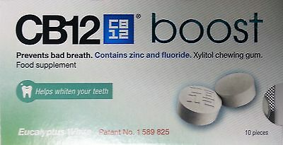 CB12 Boost Eucalyptus (New Flavour!!) Sugar Free Chewing Gum - Bad Breath Relief