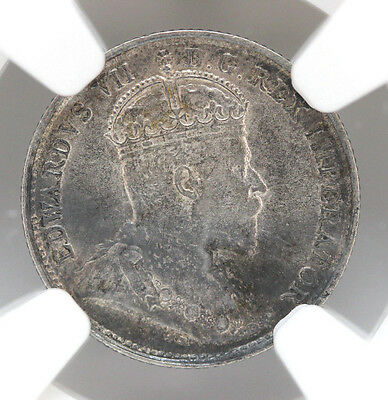 1908 Canada 5 Cents Silver KM13 Edward VII Small 8 NGC AU53 90188h