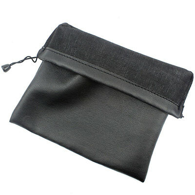 Leather Drawstring Bag Wrist Wallet for Small Electronics and Accessories,Black