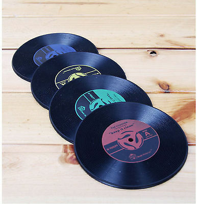Vintage Vinyl Coasters Silicone Groovy Record Table Bar Drinks Mats,Set Of 4