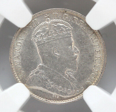 1903 H Canada 5 Cents Silver KM13 Edward VII Large H - AU55 #01272924g