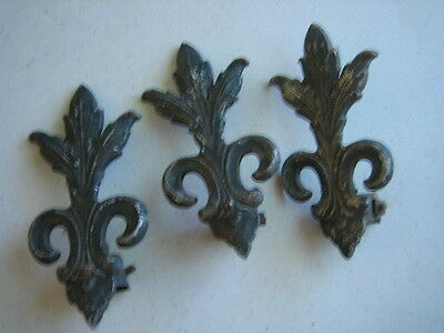 Antique Lot Of 3 French Style Metal Curtain Rod Pull Back  Parts For Restoration
