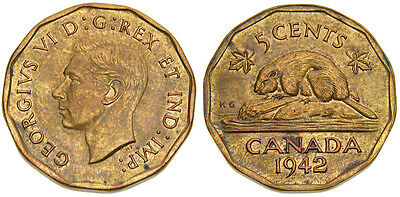 1942 Canada 5 Cents King George VI Tombac Nickel MS-62