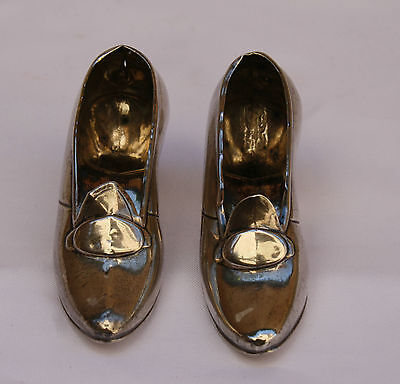 Magnificent Pair Of 1900 Sterling Silver Miniature Shoes