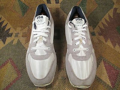 VINTG 1980s '' USA OLYMPICS '' Running Shoes Sneakers White/Grey/Blue size 11D