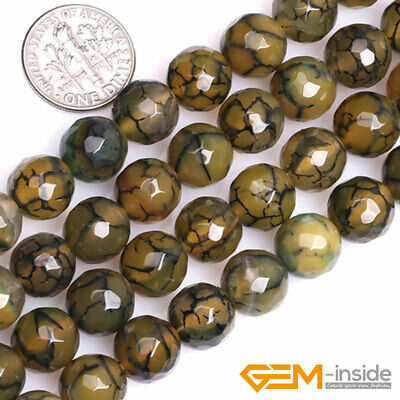 Natural Dark Yellow Dragon Veins Agate Faceted Round Beads For Jewelry Making