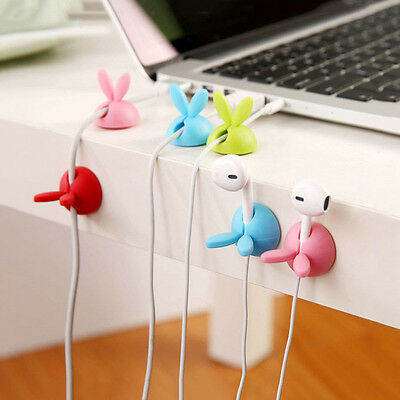3x Rabbit Cable Drop Clip Desk Tidy Organiser DIY Wire Lead USB Charger Holder