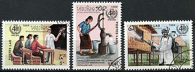 Laos 1988 SG#1068-70, 40th Anniv Of WHO Cto Used Set #D6380
