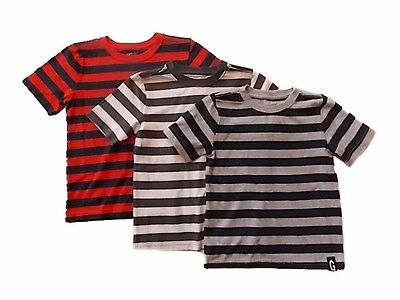 NWT Boy's Gymboree Hop Roll red blue gray striped shirt ~ 6 12 18 24 months 3T