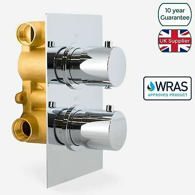 Temel Round 2 Dial 2 Way Chrome Concealed Thermostatic Shower Mixer Valve
