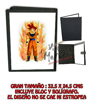 CARPETA GOKU GOD DRAGON BALL LONETA NEGRA FOLDER bloc notas es
