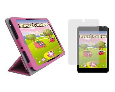 """Tulip Pink Folio Case Cover + Screen Protector for Trio Stealth G5 7.85"""" Tablet"""