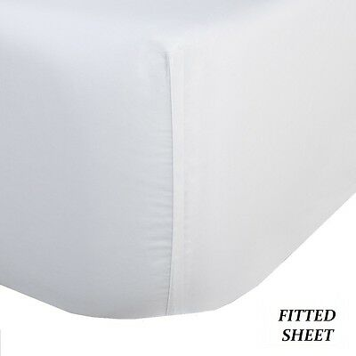 1 New White Full Size 54X80X9 Fitted Sheet T180 Percale Hotel Linen Cotton Rich