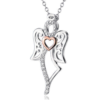 925 Sterling Silver Heart Tinkerbell Angel Fairy Wings Crystal Zirconia Necklace