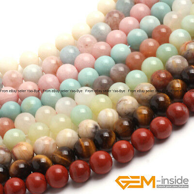 """Wholesale Lot Natural Assorted Stones Round Beads For Jewellery Making 15""""Strand"""