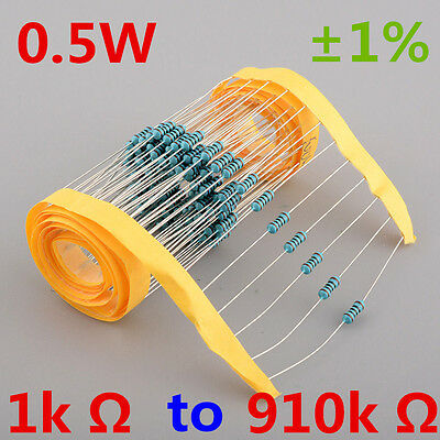 New!! 1/2W Watt 0.5W Metal Film Resistor ±1% 1k Ω to 910k Ω Ohm