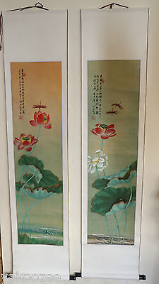 A pair of classical Chinese painting on paper scrolls  #20140200
