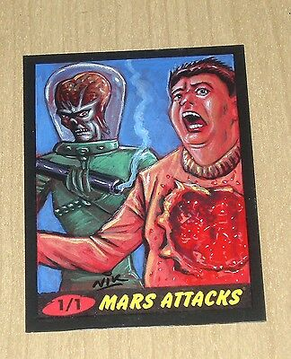 2012 Topps Heritage MARS ATTACKS sketch card Nick Neocleous NIK 1/1