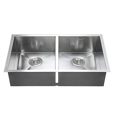 "Kitchen Sink Handmade Basin Stainless Steel 30""x18"" Top Mount Double Bowl"