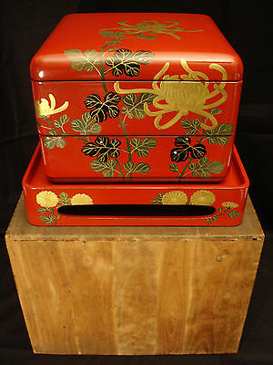 "7 3/4"" H Japanese Taisho Lacquered Wood Mop Inlay Obento Box / Original Wood Box"