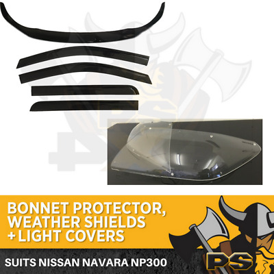 Nissan Navara NP300 SET OF BONNET PROTECTOR ,WEATHER SHIELDS & Head Light Covers