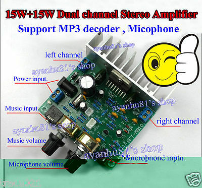 DC 12V TDA7297 15W*2 Stereo Power Amplifier Board MP3 Decoder / Microphone Amp