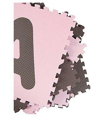 Tadpoles 36 Sq Ft ABC Floor Mat NEW Safe Soft Durable Easy to Clean, Pink/Brown