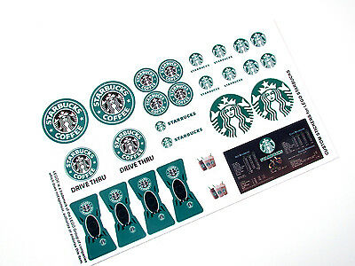 CUSTOM DIE CUT STICKERS for STARBUCKS MODELS, BUILDS, ETC. Lego 3438 size