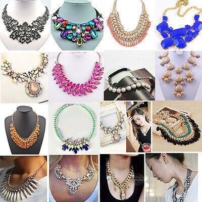 Lot Charm Jewelry Crystal Chunky Statement Bib Pendant Chain Choker Necklace