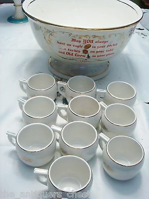 Hall OLD CROW Punch Bowl Set with 10 mugs and ladle[2]