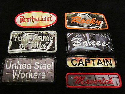 ONE (1) Custom Sublimated Embroidered Name Patch - Mortorcycle,Clubs - Free Ship