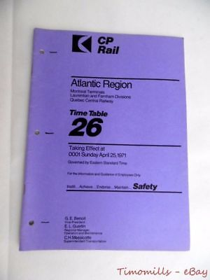 1971 Canadian Pacific Rail Employee Timetable #26 Atlantic Vintage Original