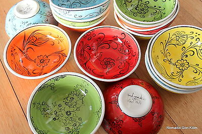 Turkish ceramic bowls (12cm) handmade - handpainted, food safe - COLOURFUL