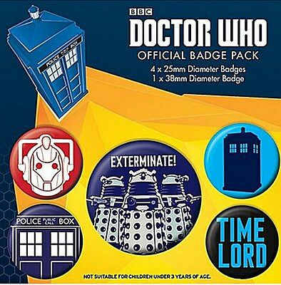 Doctor Who Exterminate pack of 5 round pin badges    (py)
