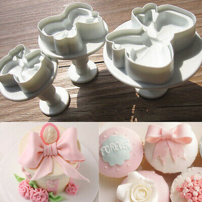 3Pcs Bow Plunger Sugarcraft Cake Cookies Decorating Fondant Icing Cutter Tool