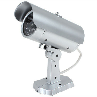 Silver 18 False IR LEDs Red Blinking LED Dummy Simulated CCTV CCD Camera