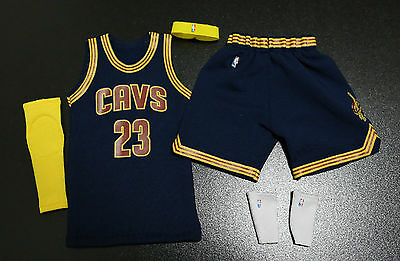 quality design d59a9 b6207 CUSTOM 1/6 LEBRON james cavs jersey 23 cavaliers NBA TOYs road navy fit  enterbay
