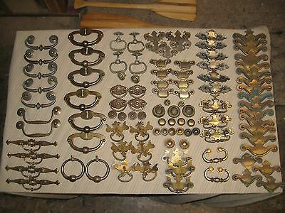 102 pc lot Top Quality Vintage Brass Patina Furniture Hardware Drawer Pulls knob